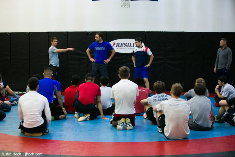 Wrestling facility rental in New Jersey shows a wrestling team practicing